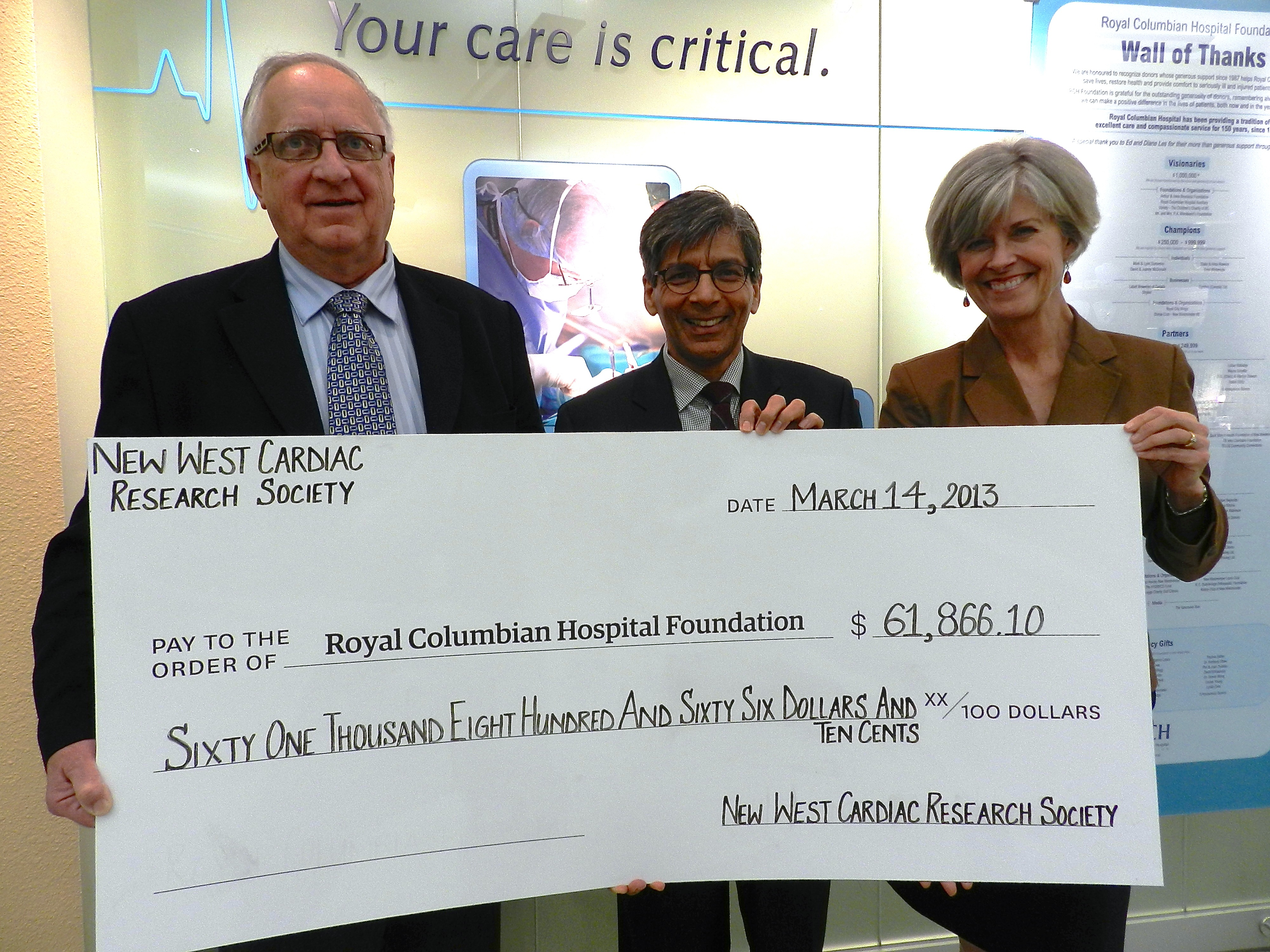 New West Cardiac Research Society Cheque Presentation 3